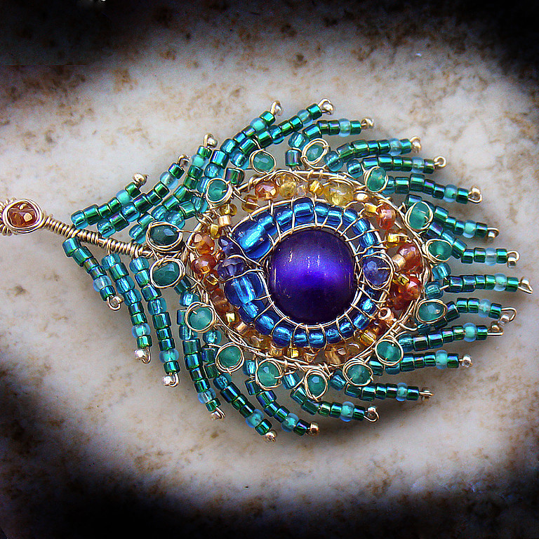 Brooches handmade. Livemaster - handmade. Buy Brooch 'peacock Feather'.Peacock, citrine, green onyx