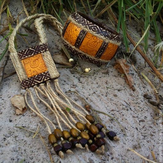 Комплекты украшений ручной работы. Ярмарка Мастеров - ручная работа. Купить Кулон и браслет из полимерной глины EL DORADO. Handmade.