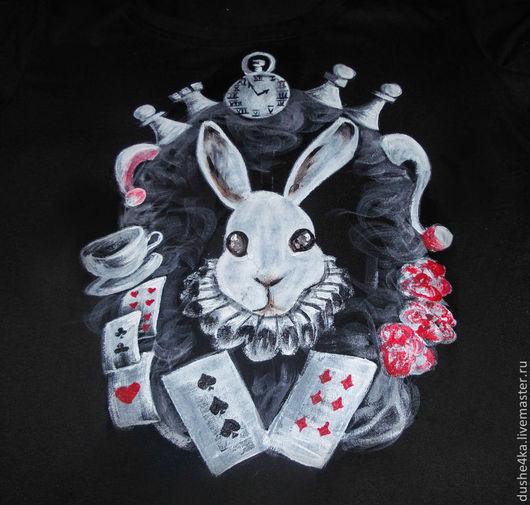 """Футболки, майки ручной работы. Ярмарка Мастеров - ручная работа. Купить Футболка с ручной росписью """"Белый кролик"""". Handmade. Футболка"""