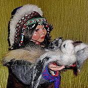 Куклы и игрушки ручной работы. Ярмарка Мастеров - ручная работа Кукла  Теюнэ  и чайка  - ненецкая девушка. Handmade.