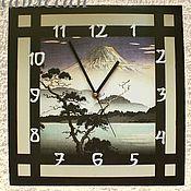 """Для дома и интерьера ручной работы. Ярмарка Мастеров - ручная работа Часы настенные """"Фудзи"""" в японском стиле подарок мужчине. Handmade."""