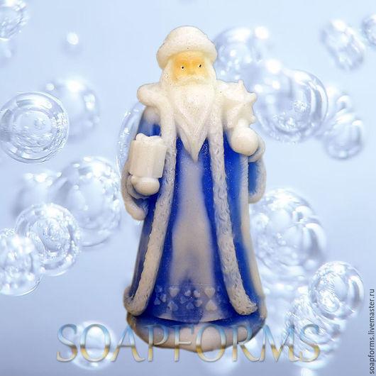 Силиконовая форма для мыла и свечей `Дед мороз 1` 3D (на фото работа выполненная в мыле)