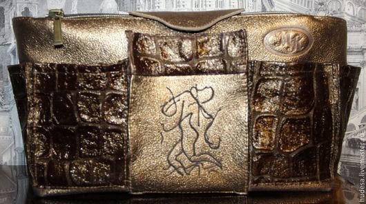 """Органайзеры для сумок ручной работы. Ярмарка Мастеров - ручная работа. Купить Органайзер кожаный для сумки """"Данзанте. Золото"""". Handmade. Золотой"""