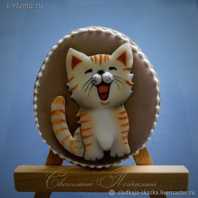 """Кулинарные сувениры ручной работы. Ярмарка Мастеров - ручная работа. Купить Пряник """"Котёнок Мяу"""". Handmade. Пряник, пряничный сувенир"""