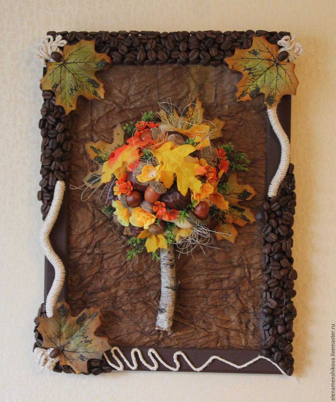 Панно своими руками на тему осень из природного материала 186