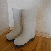 Обувь ручной работы. Ярмарка Мастеров - ручная работа Белые валенки на подошве.. Handmade.