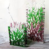 """Для дома и интерьера ручной работы. Ярмарка Мастеров - ручная работа Ваза-подсвечник из стекла """"Весенний лес"""", фьюзинг. Handmade."""