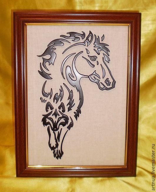 Животные ручной работы. Ярмарка Мастеров - ручная работа. Купить Конь и волк. Handmade. Черный, лошадь, конь и волк, картина