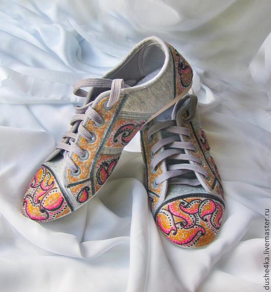 """Обувь ручной работы. Ярмарка Мастеров - ручная работа. Купить Кеды с ручной росписью """"Розовый закат"""" (Роспись кед, Кеды  с рисунком). Handmade."""