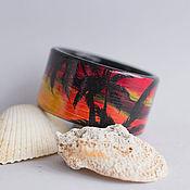 Украшения ручной работы. Ярмарка Мастеров - ручная работа Браслет с росписью Tropical Sunset. Handmade.