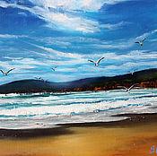 Картины и панно ручной работы. Ярмарка Мастеров - ручная работа Завтрак на море - морской пейзаж картина маслом. Handmade.