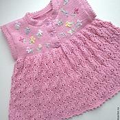Работы для детей, ручной работы. Ярмарка Мастеров - ручная работа Вязаное платье для новорожденной. Handmade.