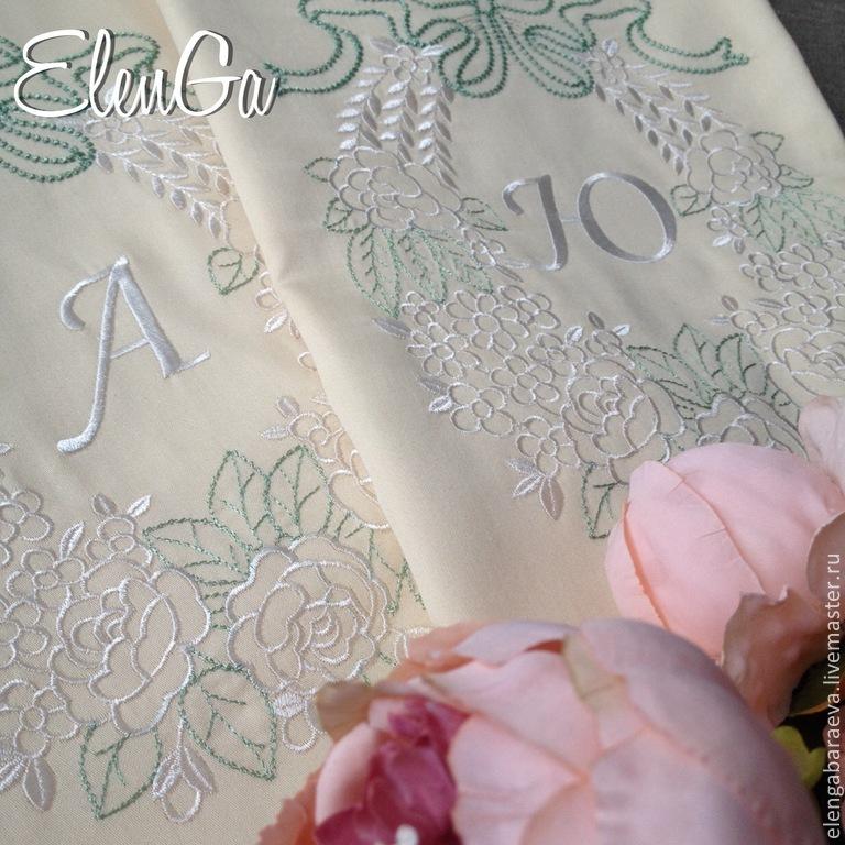 Вышивка для постельного на свадьбу