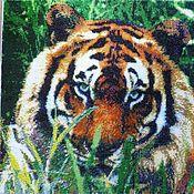 """Картины и панно ручной работы. Ярмарка Мастеров - ручная работа Картина бисером """"Тигр"""". Handmade."""