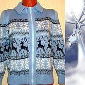 Одежда handmade. Livemaster - original item Sweater knit with a Norwegian ornament on zipper. Handmade.