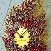 """Для дома и интерьера ручной работы. Ярмарка Мастеров - ручная работа фьюзинг часы """"Осенний костёр"""", стекло. Handmade."""