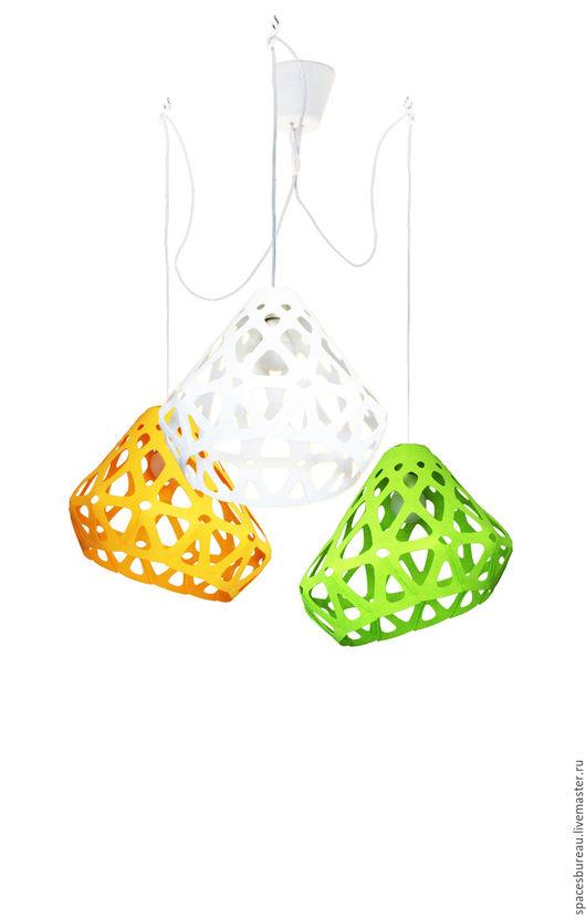 Освещение ручной работы. Ярмарка Мастеров - ручная работа. Купить ZAHA LIGHT трехцветная трехрожковая люстра. Handmade. Комбинированный