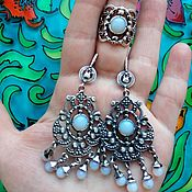 Украшения handmade. Livemaster - original item 202 silver earrings and ring with stones.. Handmade.