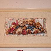 """Картины и панно ручной работы. Ярмарка Мастеров - ручная работа вышитая картина """"Мишки -Тэдди"""". Handmade."""