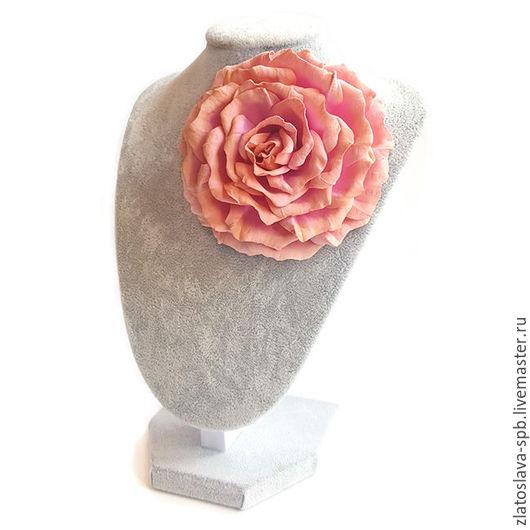 Броши ручной работы. Ярмарка Мастеров - ручная работа. Купить Роза пыльная (брошь-заколка). Handmade. Бледно-розовый