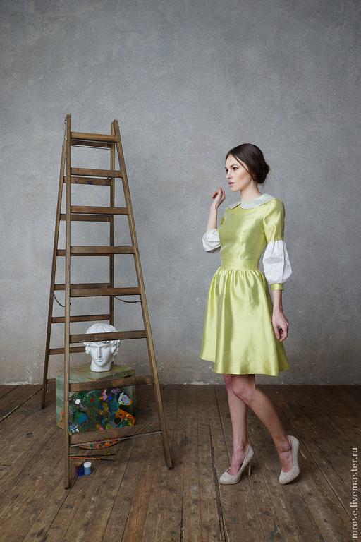 Платья ручной работы. Ярмарка Мастеров - ручная работа. Купить Шелковое платье Verona. Handmade. Салатовый, шелковое платье