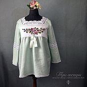 """Одежда ручной работы. Ярмарка Мастеров - ручная работа Блуза """"С розами"""" мятная. Handmade."""