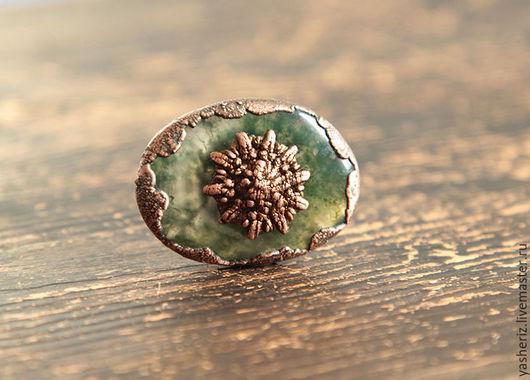 Кольца ручной работы. Ярмарка Мастеров - ручная работа. Купить Кольцо с зеленым камнем. Handmade. Зеленый, кольцо с камнем, медь