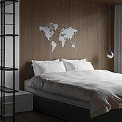 Для дома и интерьера handmade. Livemaster - original item World map world Map Wall Decoration White 180h108. Handmade.