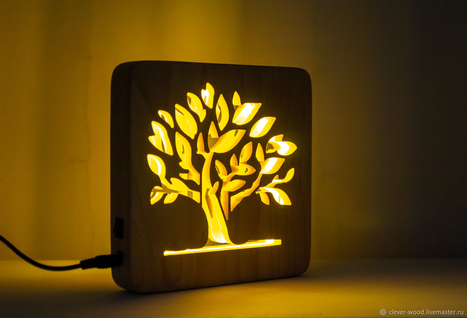 Wooden Night light, tree night light lamp, Table lamps, Moscow,  Фото №1