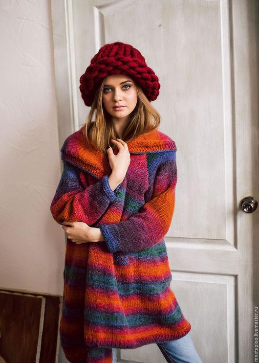 Кофты и свитера ручной работы. Ярмарка Мастеров - ручная работа. Купить радужный oversize кардиган. Handmade. Комбинированный, кардиган вязаный