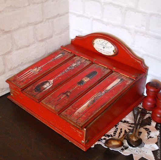 Кухня ручной работы. Ярмарка Мастеров - ручная работа. Купить Ящик для столовых приборов НОРМАНДИЯ. Handmade. Ярко-красный, ложка