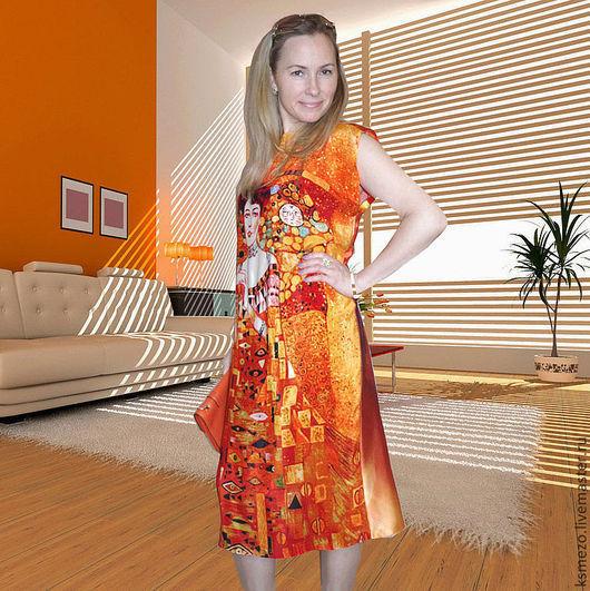 """Платья ручной работы. Ярмарка Мастеров - ручная работа. Купить Платье """"Адель Климт"""" Шёлковое. Handmade. Платье летнее оранжевое"""