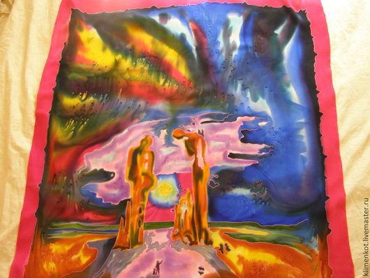 Шали, палантины ручной работы. Ярмарка Мастеров - ручная работа. Купить платок-Тайна(С.Дали). Handmade. Рисунок, платок, осень