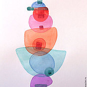 Картины и панно ручной работы. Ярмарка Мастеров - ручная работа Балансирующий. Абстракция. Акварель.. Handmade.