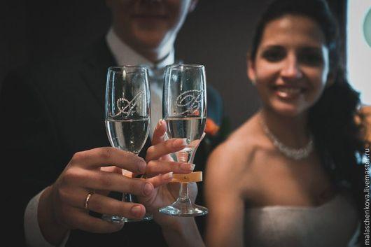 Свадебные аксессуары ручной работы. Ярмарка Мастеров - ручная работа. Купить Свадебные бокалы. Handmade. Оранжевый, свадебные аксессуары, бокалы