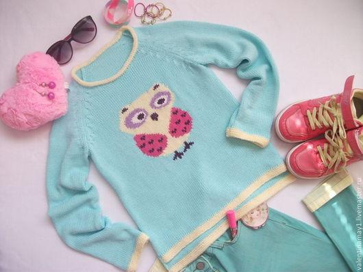 """Одежда для девочек, ручной работы. Ярмарка Мастеров - ручная работа. Купить Свитер """"Совушка"""". Handmade. Жакард, свитер"""
