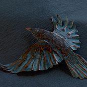 Украшения handmade. Livemaster - original item RAVEN: a patinated copper brooch, hand made jewelry. Handmade.