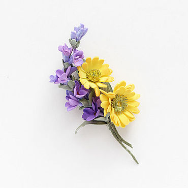 Украшения ручной работы. Ярмарка Мастеров - ручная работа Брошь с лавандой цветы желтые фиолетовые букет. Handmade.