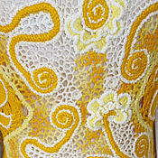 Одежда ручной работы. Ярмарка Мастеров - ручная работа Вязаная яркая туника-бохо в желтых солнечных тонах. Handmade.