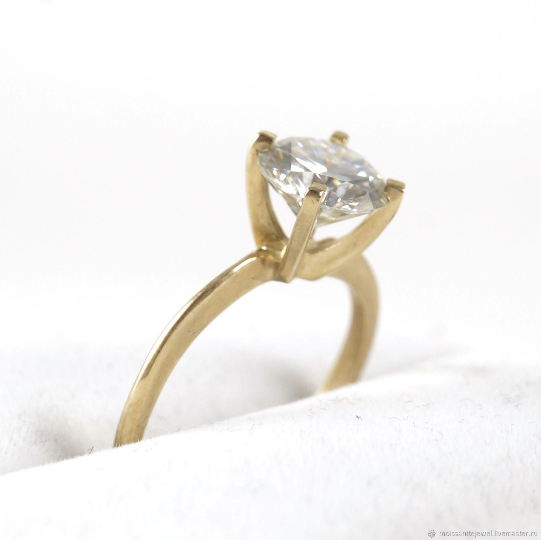 Кольцо желтое золото 585 проба улучшенный муассанит 2 кт, Кольца, Рязань,  Фото №1