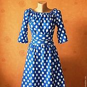 Одежда ручной работы. Ярмарка Мастеров - ручная работа Платье трикотажное синее в белый горошек. Handmade.