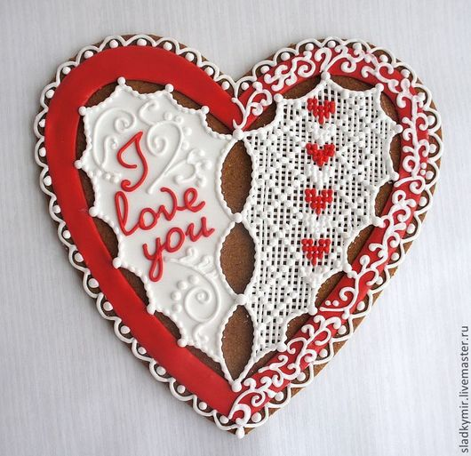 Кулинарные сувениры ручной работы. Ярмарка Мастеров - ручная работа. Купить Кружевное сердце - имбирный пряник / печенье. Handmade.