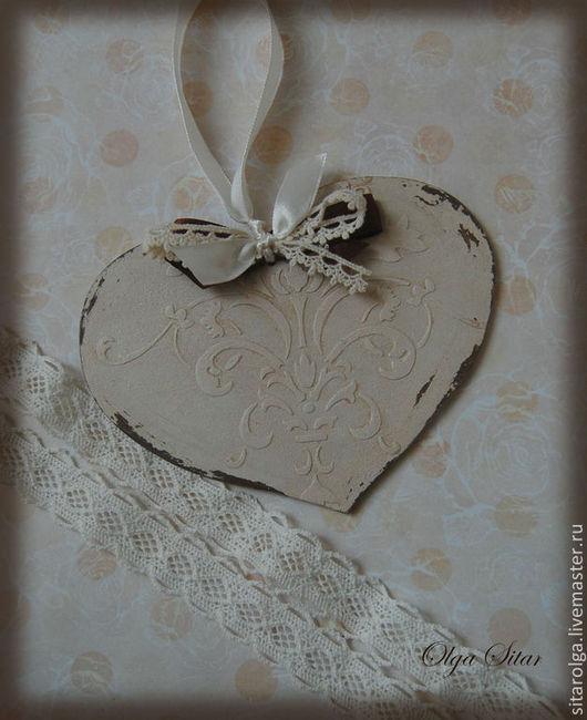 Подарки для влюбленных ручной работы. Ярмарка Мастеров - ручная работа. Купить Сувенирное винтажное Сердце-Валентинка. Handmade. Бежевый, винтажный