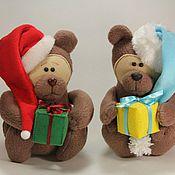 Куклы и игрушки ручной работы. Ярмарка Мастеров - ручная работа Новогодний флисовый мишка. Handmade.