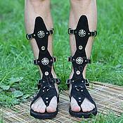 Обувь ручной работы handmade. Livemaster - original item gladiators of rome black nappa leather unisex. Handmade.