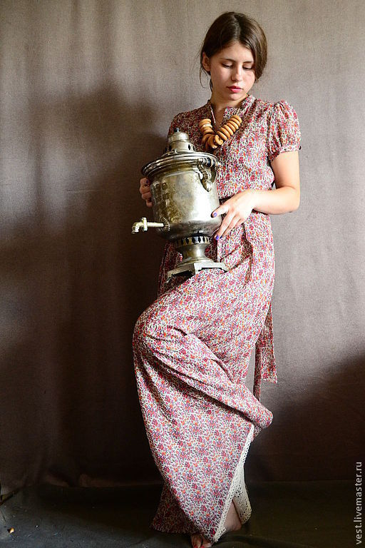 """Платья ручной работы. Ярмарка Мастеров - ручная работа. Купить Платье в пол """"Тульское"""". Handmade. Лето, самовар, девушкам"""