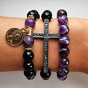 Украшения handmade. Livemaster - original item Stylish set of bracelets made of black agate and amethyst. Handmade.