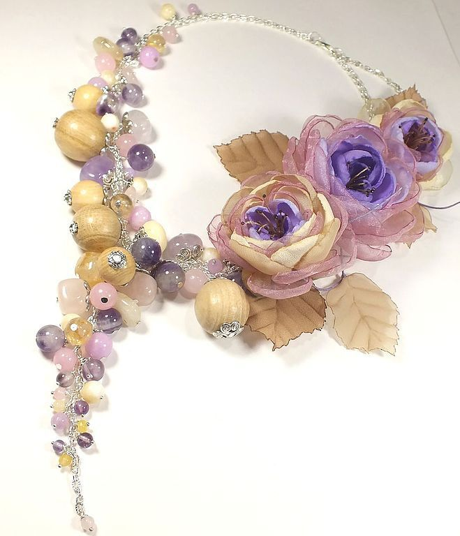 lilac foxtrot. Necklaces, three brooches flower. jewelry set, Jewelry Sets, St. Petersburg,  Фото №1