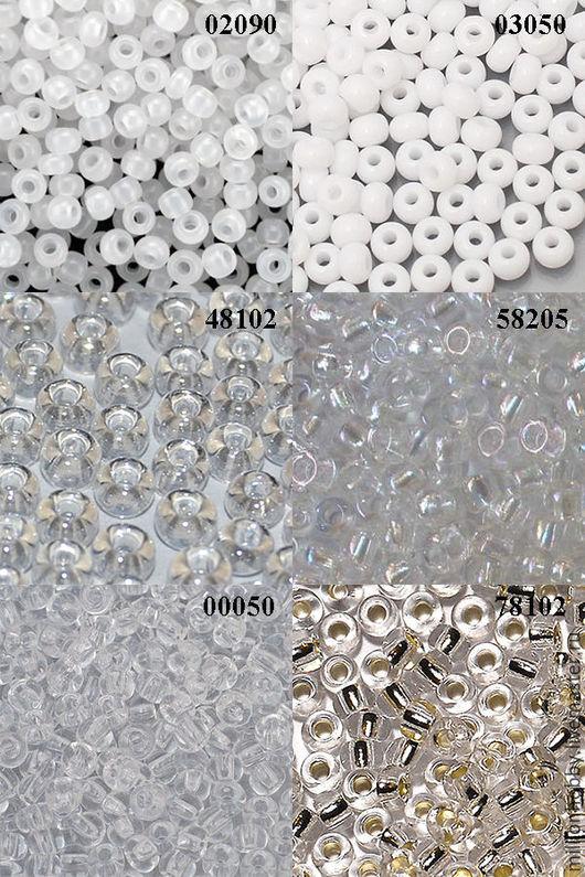 Бисер белый, прозрачный, серебристый: 02090 белый керамика 03050 белый керамика 48102 прозрачный блестящий 58205 прозрачный радужный 00050 прозрачный 78102 серебристый огонек