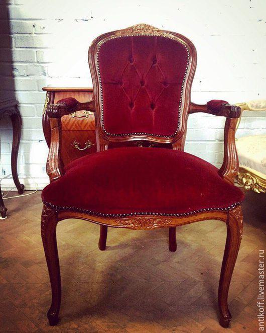 Винтажные предметы интерьера. Ярмарка Мастеров - ручная работа. Купить Винтажное кресло в стиле Людовик XV. Handmade. Бордовый